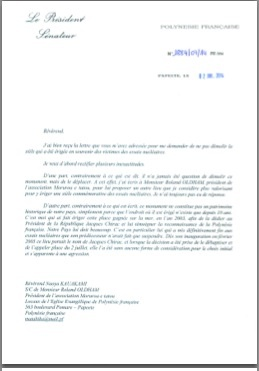 日本からの公開書簡に対するガストン・フロス仏領ポリネシア大統領からの返信